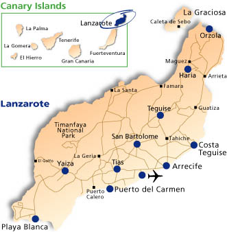 Map of Lanzarote & the Canary islands